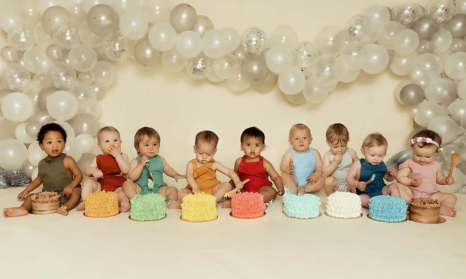 Group cake smash photography for boys and girls